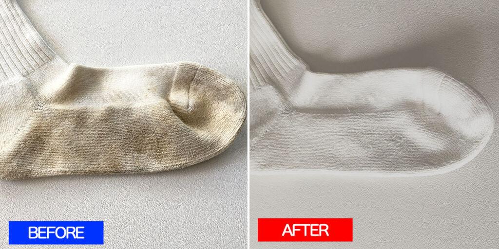 ウタマロ石鹸靴下の泥汚れ落としBefore&After
